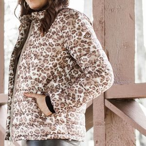 Bernardo Leopard Puffer Jacket Tan/Brown S